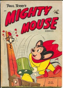 Mighty Mouse #54 1954-St John-circus cover-history of MM family-VG