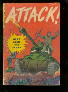 ATTACK #2 1953-HERE COME THE TANKS-KOREA-WW II-VIOLENT  VG