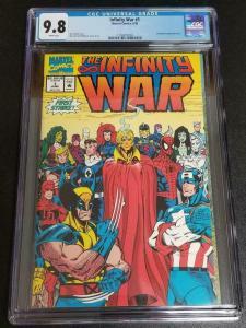 INFINITY WAR #1, NM/M, CGC = 9.8, Wolverine, Spider-man, Thanos, 1992, Avengers