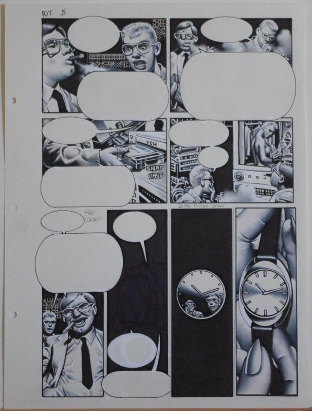 RICHARD CORBEN original art, RIP IN TIME #1 pg 5, Signed, 12x16, Voyeur, Watch