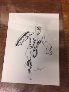Mark Bagley ORIGINAL Art Sketch Captain America Marvel Comics Heroes Con TWT1