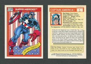 1990 Marvel Comics Card  (#1 Captain America)  NM-MT