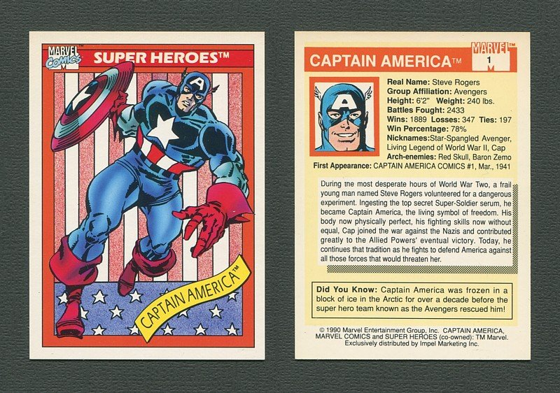1990 Marvel Comics Card  (#1 Captain America)  Mint