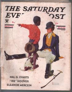 Saturday Evening Post  3/17/1934-Rockwell cover-complete magazine-G