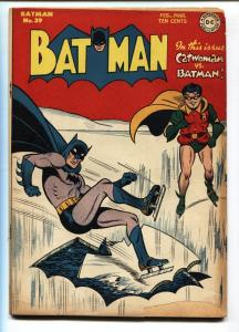 BATMAN #39 1947-BATMAN ICE SKATING cvr-Catwoman DC GOLDEN AGE