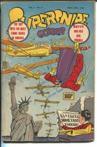 Supersnipe Vol. 2 #12 1945-Statue of Liberty-Boy With Most Comic Books-VG MINUS