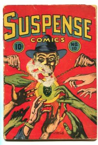 SUSPENSE COMICS #10 1945-LB COLE-HORROR-CRIME-SATAN-ultra RARE!