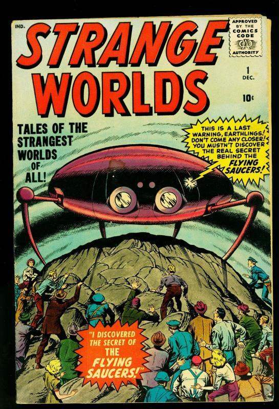 Strange Worlds #1 1958- Jack Kirby Flying Saucer cover- FN-