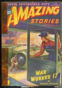 Amazing Stories 9/1943-WWII factory sabotage cover-sci-fi pulp fiction -VG-