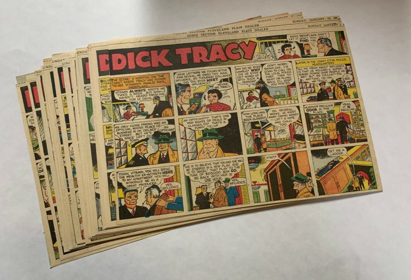 Dick Tracy Newspaper Comics Sundays 1947 InComplete Year Great Shape 49 Total