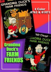 Two Grandma Duck's Farm Friends! 4 Color 763 & 1073  VG * Carl Barks Cover & Art
