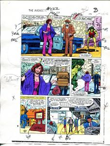 Avengers #222 1982 Hand Painted  Colorguide Page 3-She-Hulk-VG
