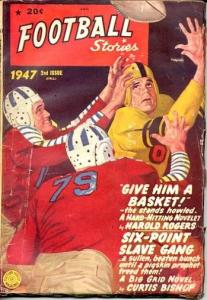 FOOTBALL STORIES PULP-1947-VINTAGE HELMET CVR-FICTION H VG