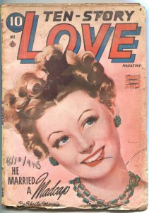 TEN-STORY LOVE-OCT 1944-ROMANCE STORIES-PIN UP STYLE COVER ART-PULP