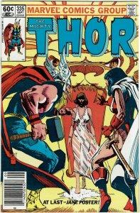 Thor #335 (1966 v1) Sienkiewicz Jane Foster Newsstand NM-