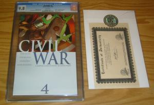 Civil War #4 CGC 9.8 mark millar - marvel's avengers - w/dynamic forces COA 2006