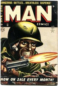 MAN COMICS #15-KOREAN WAR VIOLENCE-EXPLOSION PANELS-RUSS HEATH-1952