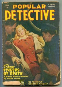Popular Detective Pulp March 1948- Three Fingers of Death G/VG