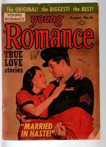 YOUNG ROMANCE #36-1951-EARLY JOE SIMON & JACK KIRBY ROMANCE COMIC  G C G