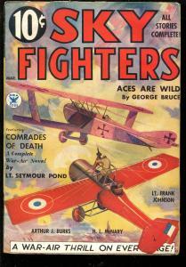 SKY FIGHTERS 3/1935-AIR WAR PULPS-WWI-BI-PLANE-fn minus
