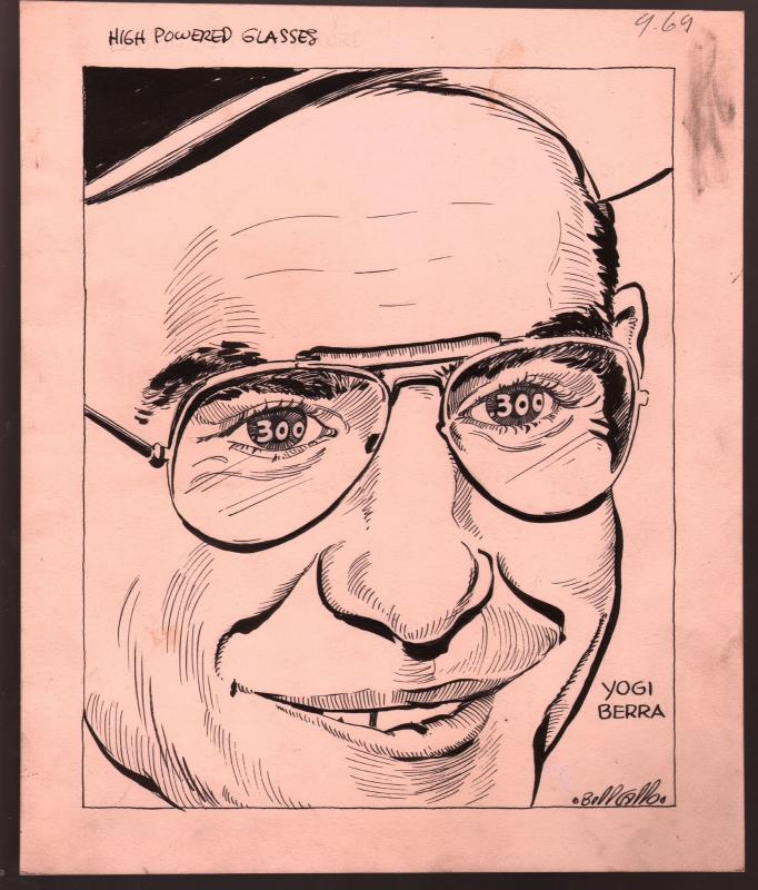 Bill Gallo Original Sporting News Art-Yogi Berra-NY Yankees-1950's-VG