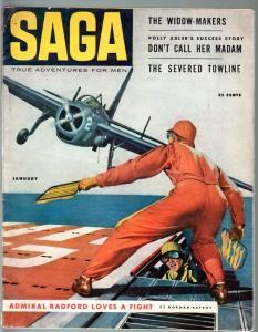 SAGA-1954 JAN-FLAT TOP-CHEESECAKE-MOON TRAVEL-PULP THRILLS-VG VG