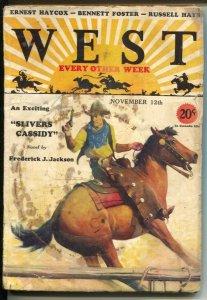 West 11/12/1930-Gerard C Delano cover art-pulp thrills-Slivers Cassidy-Freder...