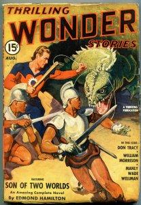 Thrilling Wondering Stories Pulp August 1941- Edmond Hamilton- Monster cover