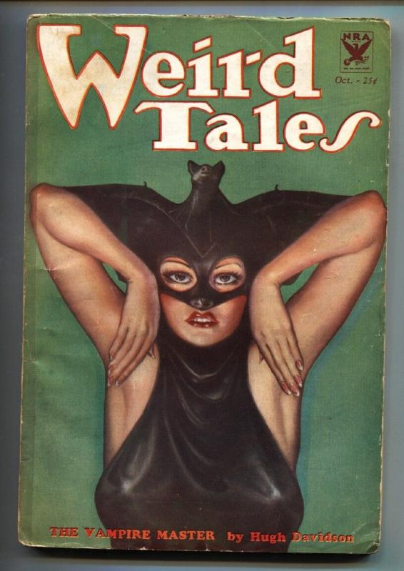 Weird Tales 10/1933-Famous Bat Woman cover-Pulp Magazine