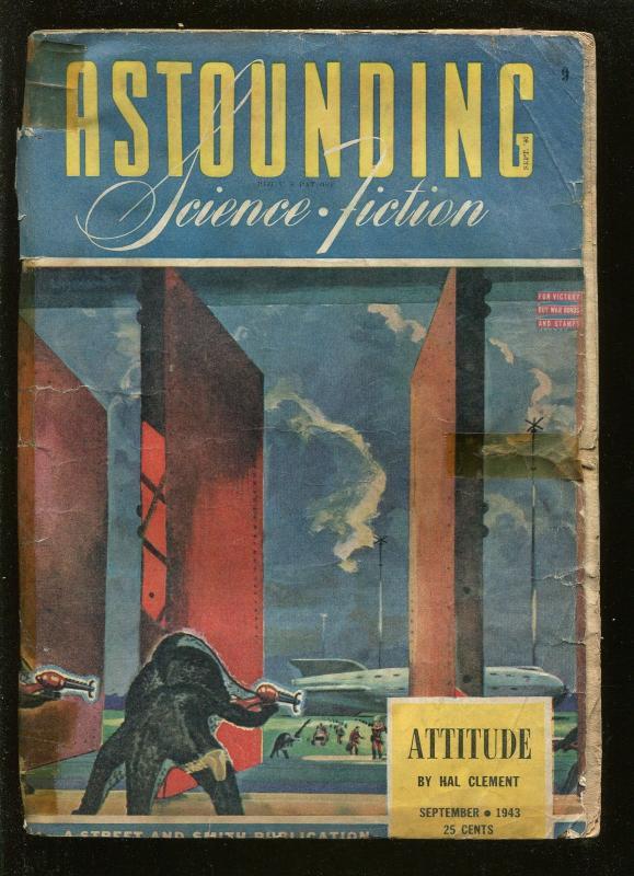 ASTOUNDING SCIENCE FICTION 09/1943-PULP SCI-FI- VAN VOGT-RAY BRADBURY-good minus