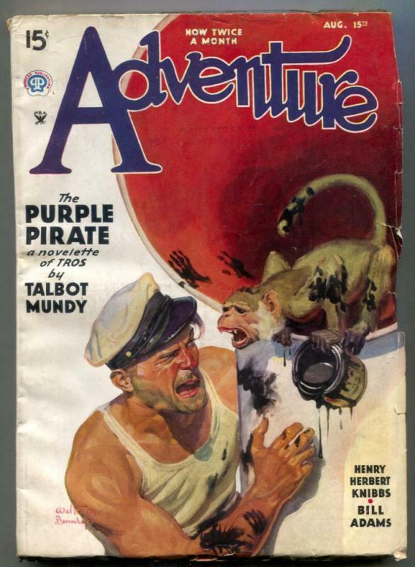 Adventure Pulp August 15 1935- Purple Pirate- MONKEY