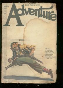 ADVENTURE PULP-MAR 10 1923-PEG LEG PIRATE COVER-SURDEZ -fair cond FR