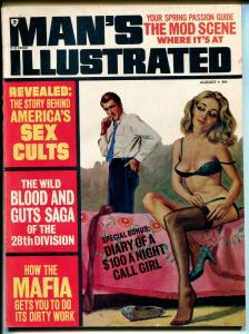Man's Illustrated 8/1974-Sterling-pulp-cults-spicy lingerie cover-Mafia-mods-VG