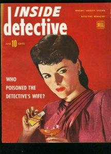 INSIDE DETECTIVE JUNE 1945-POISON COVER-TRUE CRIME- FN