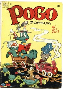 POGO POSSOM #6-1951-WALT KELLY ART-TRAIN & TURTLE COVER-DELL-10 CENT ISSUE