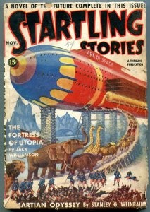 Startling Stories Pulp November 1939- Jack Binder- Rocket cover G+