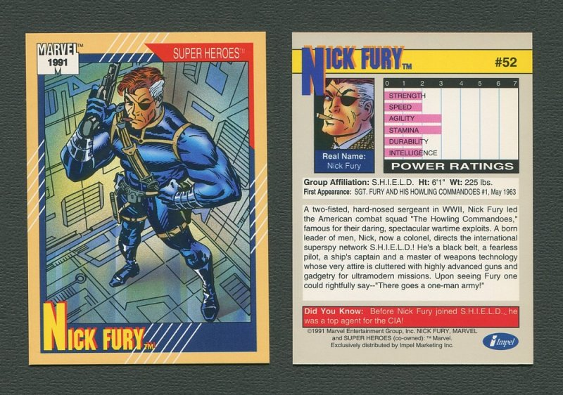 1991 Marvel Comics II  Card  #52 ( Nick Fury )  MINT