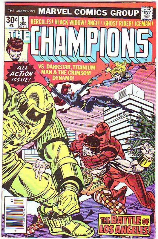 Champions, The #9 (Aug-76) VF/NM High-Grade Ghost Rider, Hercules, Black Wido...