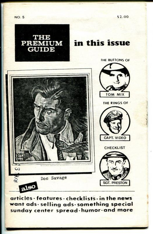 Premium Guide #5 1978-Hy Mandelowitz-Tom Mix-Sgt Preston-Doc Savage-FN