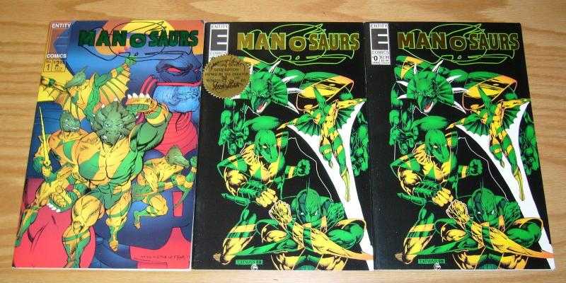 Manosaurs #0 & 1 VF/NM complete series + special signed gold edition variant