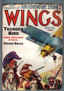 WINGS MAY 1928-#5-ARAB VIOLENCE CVR-RARE AVIATION PULP VG+