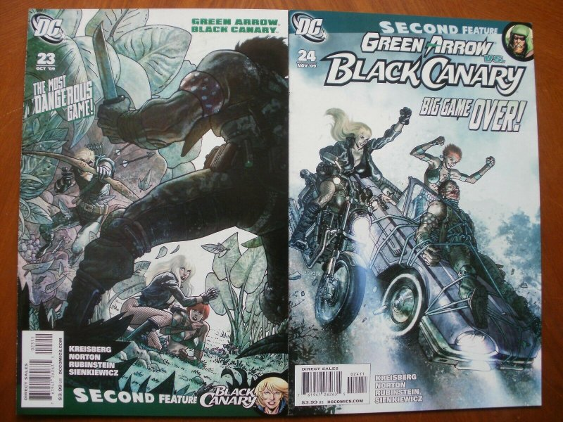 2 DC GREEN ARROW BLACK CANARY Comic: #23 Game Is On #24 Big Game We Prey 2009