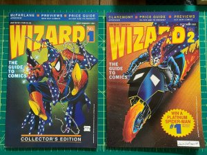 1991 WIZARD Comic MAGAZINE #1 & #2 - Spider-Man / Ghost Rider Covers VF/NM