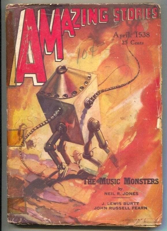 Amazing Stories $/1938-Robot cover by MOREY-Neil R Jones-1st issue published ...