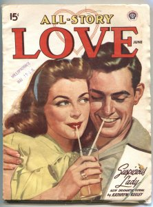 ALL-STORY LOVE   JUNE 1947-GOOD GIRL ART COVER-PULP FICTION--RARE