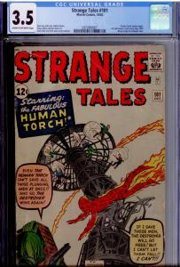 Strange Tales #101 CGC 3.5  1st solo Human Torch, Fantastic Four x-over NEW CASE