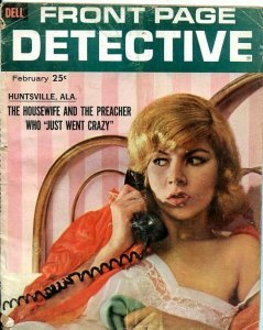 FRONT PAGE DETECTIVE-FEB/1962-CRAZY PREACHERS-THREE'S A CROWD-RATTLESNAKES! FR/G