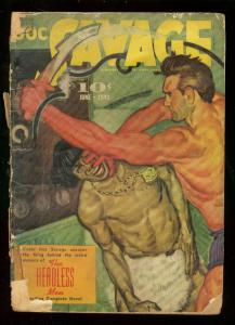 DOC SAVAGE JUNE 1941-HEADLESS MEN-BRUTAL COVER-STREET & FR