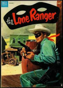 THE LONE RANGER #77-1954-DELL-TONTO-SILVER-SILVER BULLET-GUNFIGHTCOVER-vg