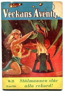 Veckans Aventyr #25 1944-Swedish comic Superman Jungle Jim G